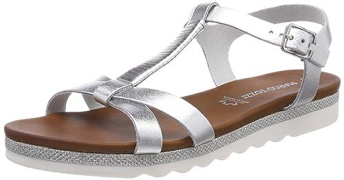 Womens 28124 T-Bar Sandals, Grey (Silver), 9 UK Marco Tozzi