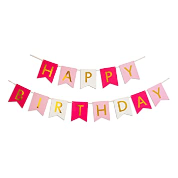 Amazon.com: Keira Prince Happy Birthday Banner, Hot Pink, Pastel ...