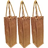 """Pack of 3- Natural Jute Burlap One Bottle Wine Tote with Long rope handles size 4""""W x 14""""H x 4""""Gusset - CarrygreenBags"""
