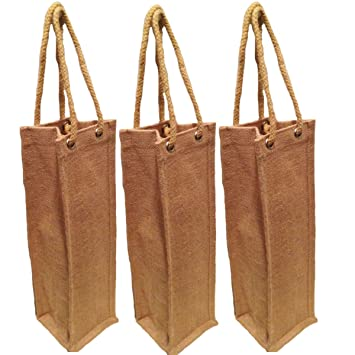 Amazon.com: Pack of 3- Natural Jute Burlap One Bottle Wine Tote ...