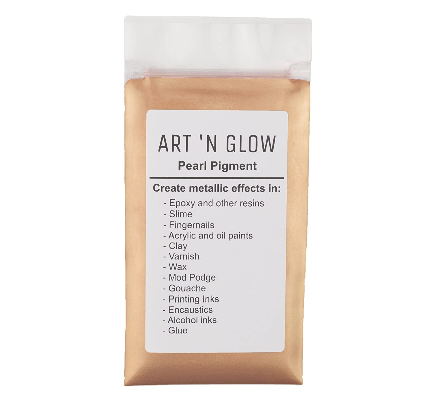 Mica Pearl Pigment Powder (Rose Gold) - (.88 Ounce/25 Grams) - 10+ Colors Available Art ' N Glow