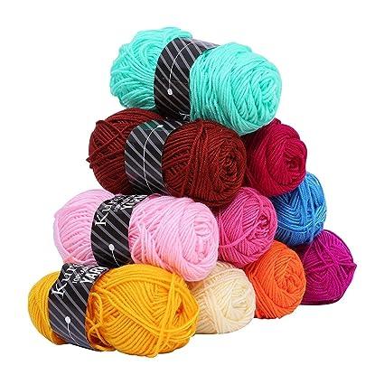 Kurelle Pack de 10 Madejas Hilo de tejer Acrílico lana - Perfecto para  Crochet y 003b011bcb8