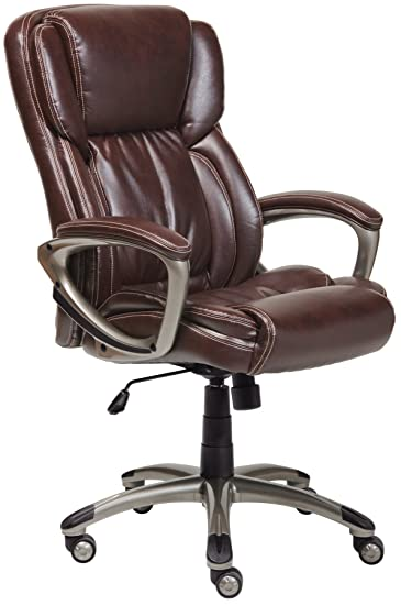 Attractive Serta Works Executive Office Chair, Bonded Leather, Brown