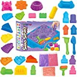 Kinetic Sand Magic Amazing Space Play Sand Fun Little Toys Sculpts Castle Architecture Set 28 pcs Molds Tool Kit - Includes 3lb Sand Packs and 1 Sand Tray