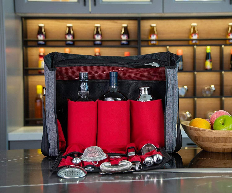 nur Tasche Set f/ür Reisen Camping Grau Professionelle wasserdichte Barkeeper-Reisetasche f/ür Barkeeper Bar-//Wein-Tragetasche