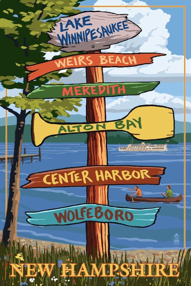 Lake Winnipesaukee, New Hampshire - Signpost Destinations (24x36 Giclee Gallery Print, Wall Decor Travel Poster) by Lantern Press B00N5CVXLU  24 x 36 Giclee Print