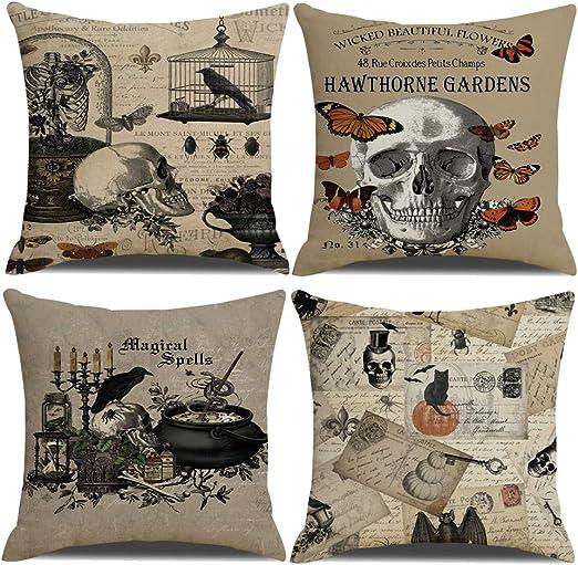 Ruoar Pack Of 4 Vintage Halloween Pillow Covers Owl Crow Pumpkin Skull Throw Pil
