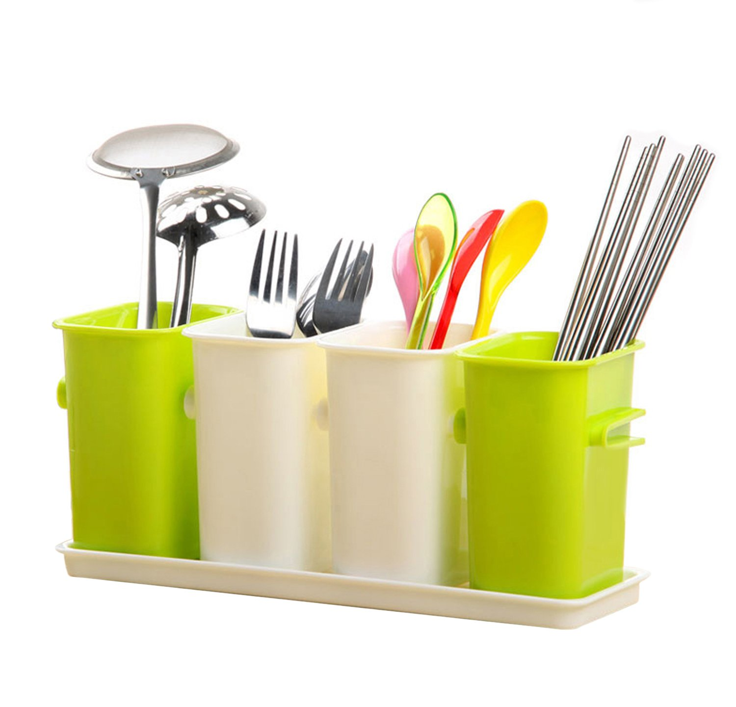 Honla interlocking plastic flatware caddy organizer on for Table utensils