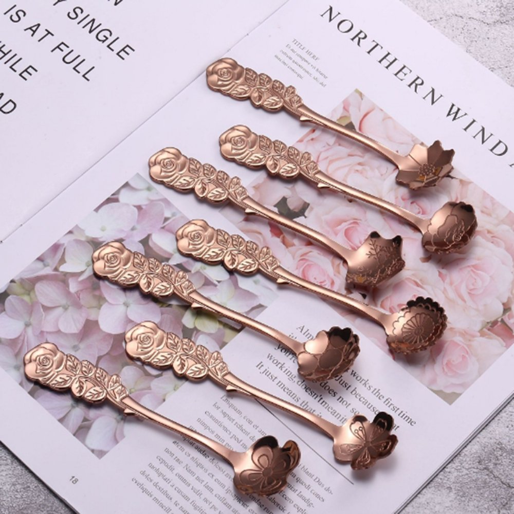 XYTMY Set of 8 Flower Coffee Measuring Spoon Tea Spoon Dessert Spoons Scoop Stainless Steel Tableware Stirring/Sugar/Stir/Bar/Mixing/Ice Cream Spoon for Kitchen Dining Bar, Condiment or Spice, Gold by XYTMY (Image #6)