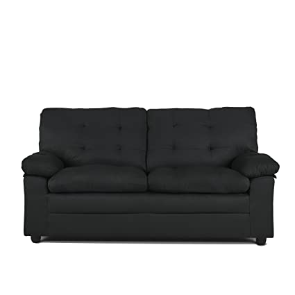 Amazon.com: Upholstered Apartment Sofa, Black, Soft, Microfiber ...
