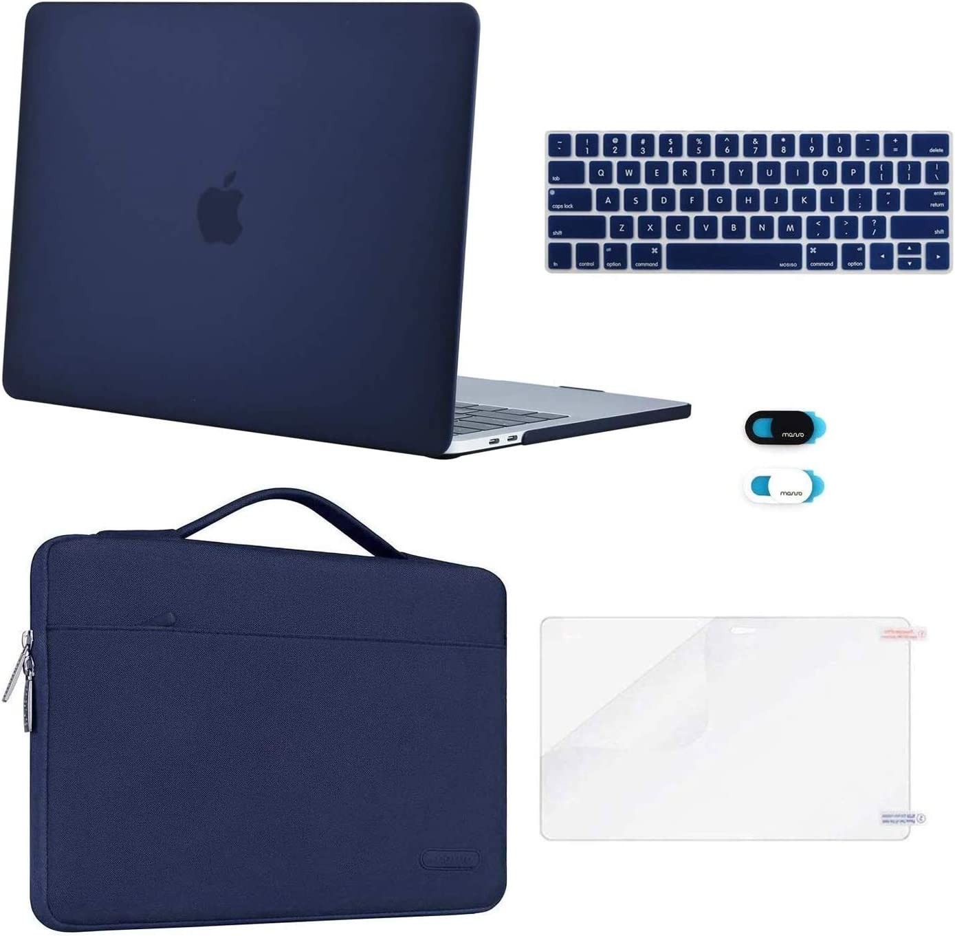 MOSISO Compatible with MacBook Pro 13 inch Case 2019 2018 2017 2016 Release A2159 A1989 A1706 A1708, Plastic Hard Shell Case&Sleeve Bag&Keyboard Skin&Webcam Cover&Screen Protector, Navy Blue