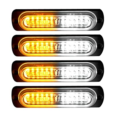 YITAMOTOR 4 inch Amber White Surface Mount Grill Light Head, 12W Bright LED Mini Strobe Light Bar Compatible with 12V-24V Construction Vehicle, Tow Truck Van (pack of 4): Automotive