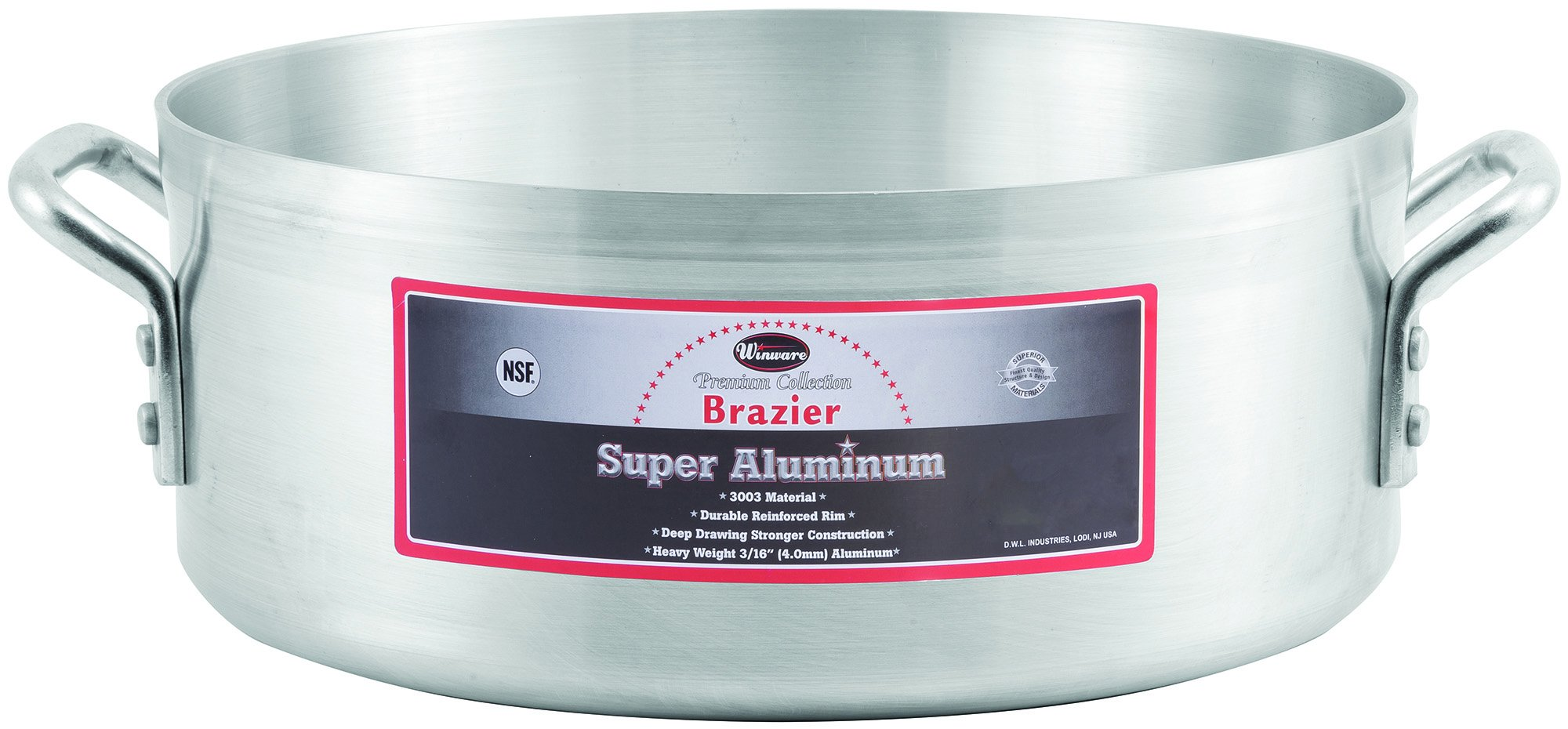 Winco USA AXBZ-15 Super Aluminum Braizer, Heavy Weight, 15 Quart, Aluminum by Winco USA