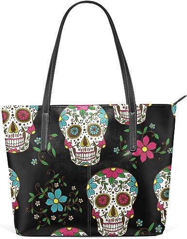 InterestPrint Day of the Dead Sugar Skull Floral Flower Dia De Los Muertos Womens Top Handle PU Leather Shoulder Satchel Bag