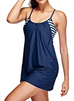 Zando Women Two Piece Stripe Swimwear Vintage Skirted Swimdress Beachwear Push Up Tankini Swimsuits For Women Boyshort