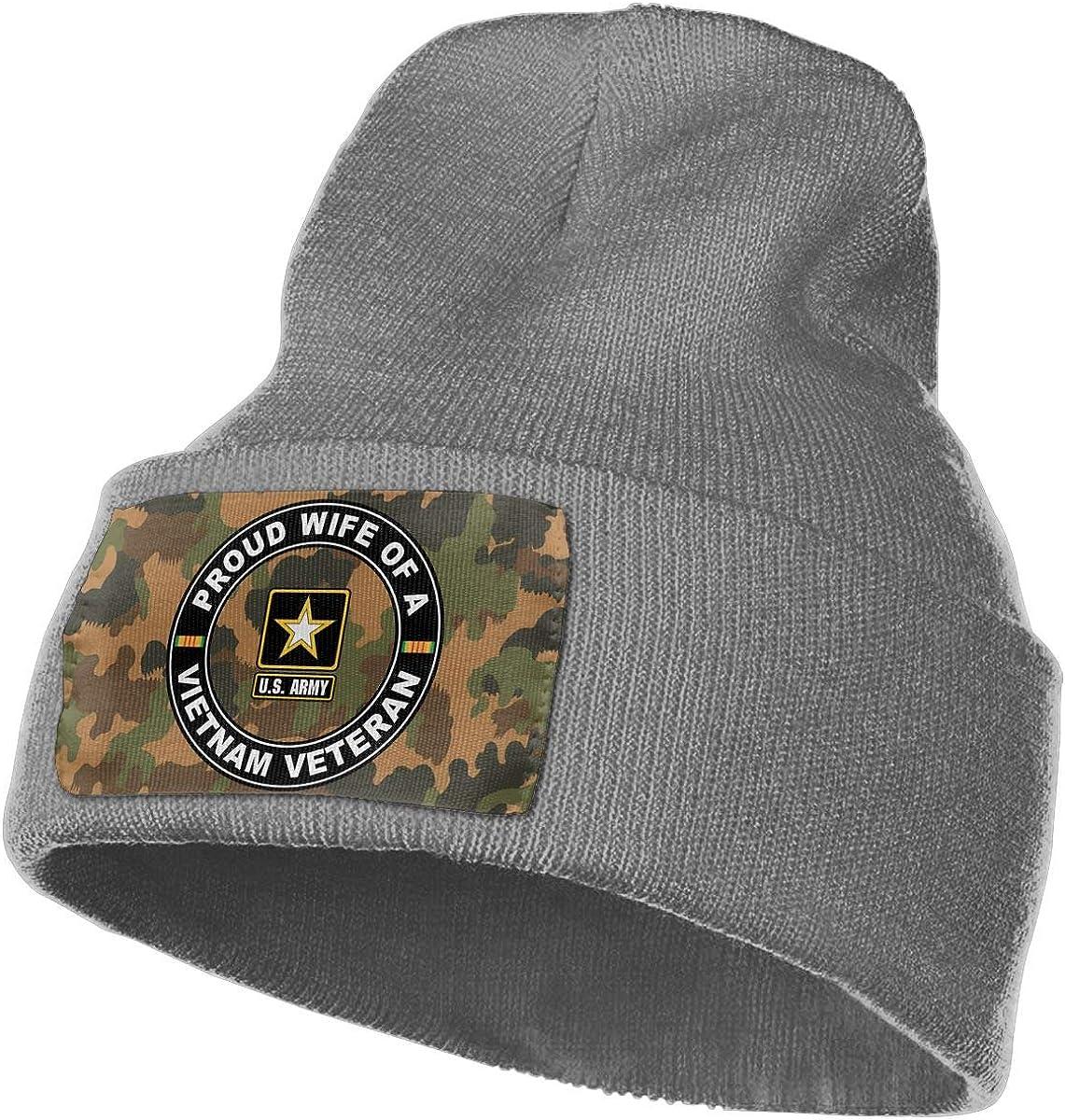 Army Proud Wife of A Vietnam Veteran Men/&Women Warm Winter Knit Plain Beanie Hat Skull Cap Acrylic Knit Cuff Hat U.S