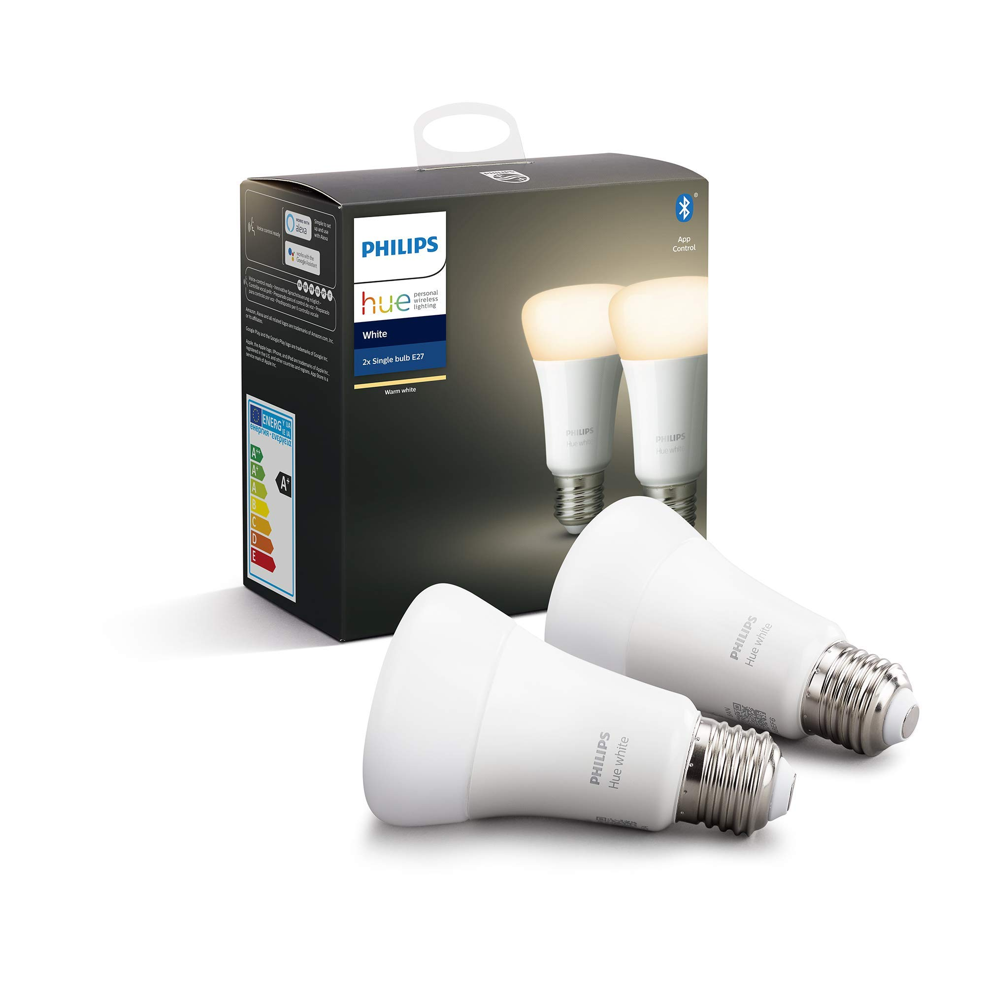 Philips Hue Pack de 2 Bombillas LED Inteligentes E27, con Bluetooth, Luz Blanca Cálida, Compatible con Alexa y Google Home