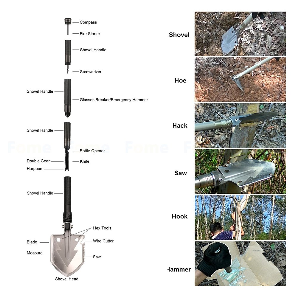 Folding Shovel,iDeep Camping Shovel High Aluminium Alloy Handle,Shovel Multitool Survival Shovel Collapsible Shovel with Pick Bottle Opener with Carry Bag for Outdoor Camping Gardening Emergency by iDeep (Image #9)