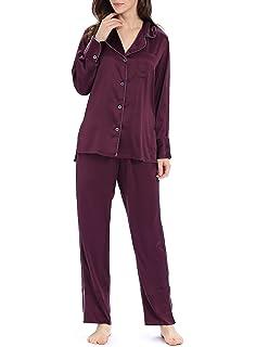 af2d8a146 Genuwin Women's Satin Pyjama Set Long Sleeve Button Up Shirt & Pants with  Pockets Ladies Sleepwear
