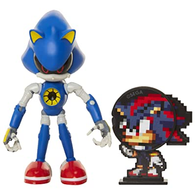 "Sonic The Hedgehog Collectible Metal Sonic 4"" Bendable Flexible Action Figure with Bendable Limbs & Spinable Friend Disk Accessory Perfect for Kids & Collectors Alike for Ages 3+: Toys & Games"