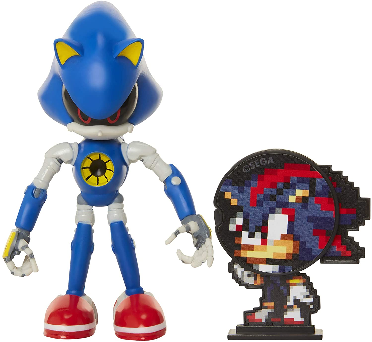 Amazon Com Sonic The Hedgehog Collectible Metal Sonic 4 Bendable Flexible Action Figure With Bendable Limbs Spinable Friend Disk Accessory Perfect For Kids Collectors Alike For Ages 3 Toys Games