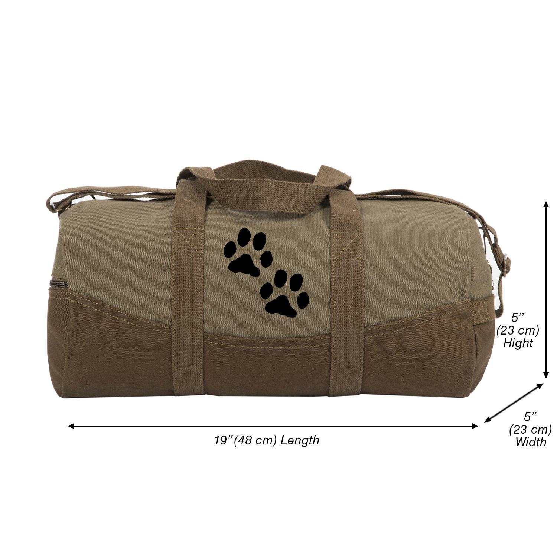 Dog Paw Prints Canvas Duffel Bag, Two Tone Brown & Black with Detachable Strap