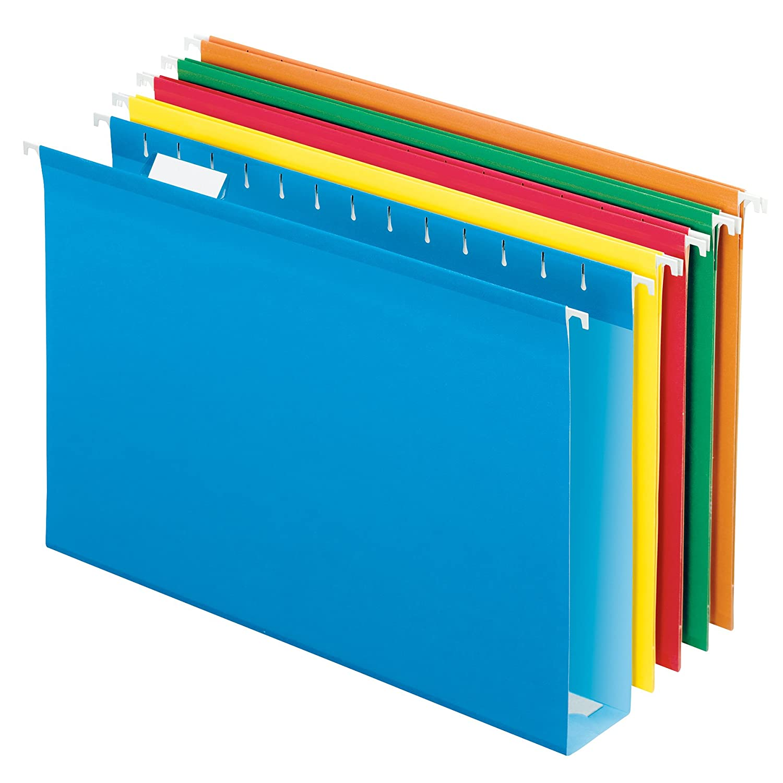 "Pendaflex Extra Capacity Reinforced Hanging Folders, 2"", Legal Size, Assorted Colors, 1/5 Cut, 25/BX (4153x2 ASST)"