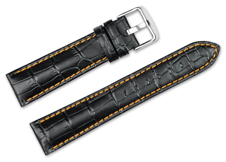 20 mm交換用レザー腕時計バンド – Alligator Grain – ブラックW /オレンジステッチ時計ストラップ  B071KRJF7T