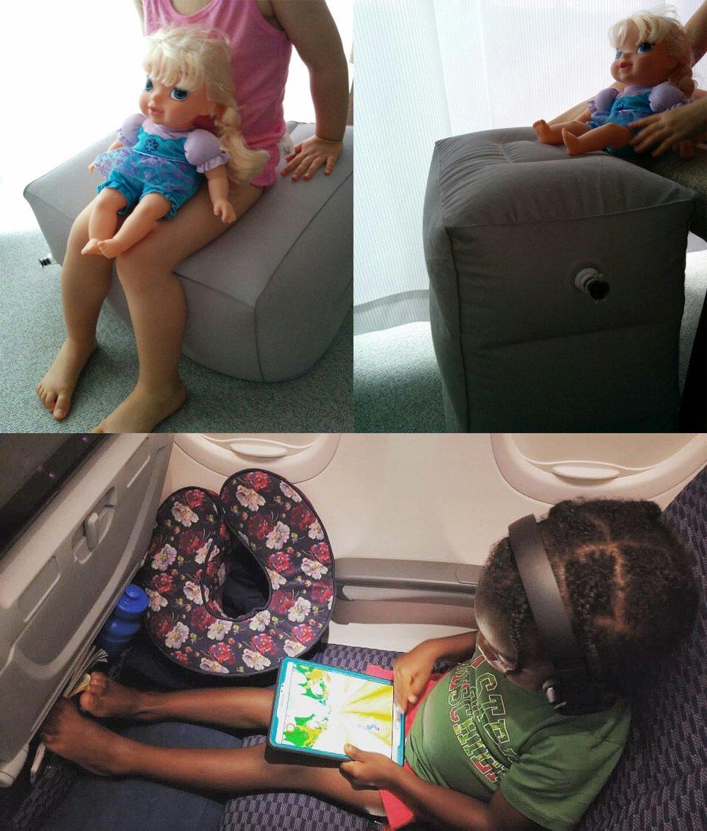 AirGoods Almohada Inflable de Viaje para Descansar los Pies y para Niños Durmiendo en Aviones (Azul)
