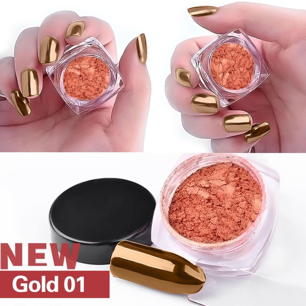 Tefamore 2g / Box Gold Silver Poudre Brillant aux ongles Poudre à miroir à ongles brillant