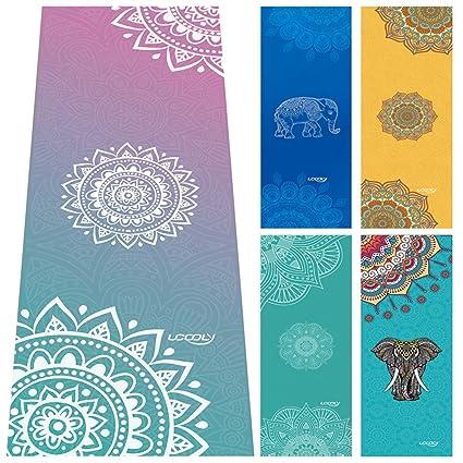 Ucooly Toalla de YogaAntideslizante Toalla con de Spray Gratuita Bottle,Caliente Toalla de Yoga con de Esquina Bolsillos, Fitness, Bikram,Ashtanga, ...
