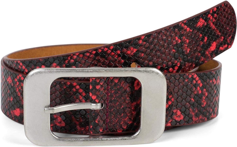 styleBREAKER cintur/ón de mujer en /óptica de piel de serpiente con una gran hebilla rectangular acortable 03010101