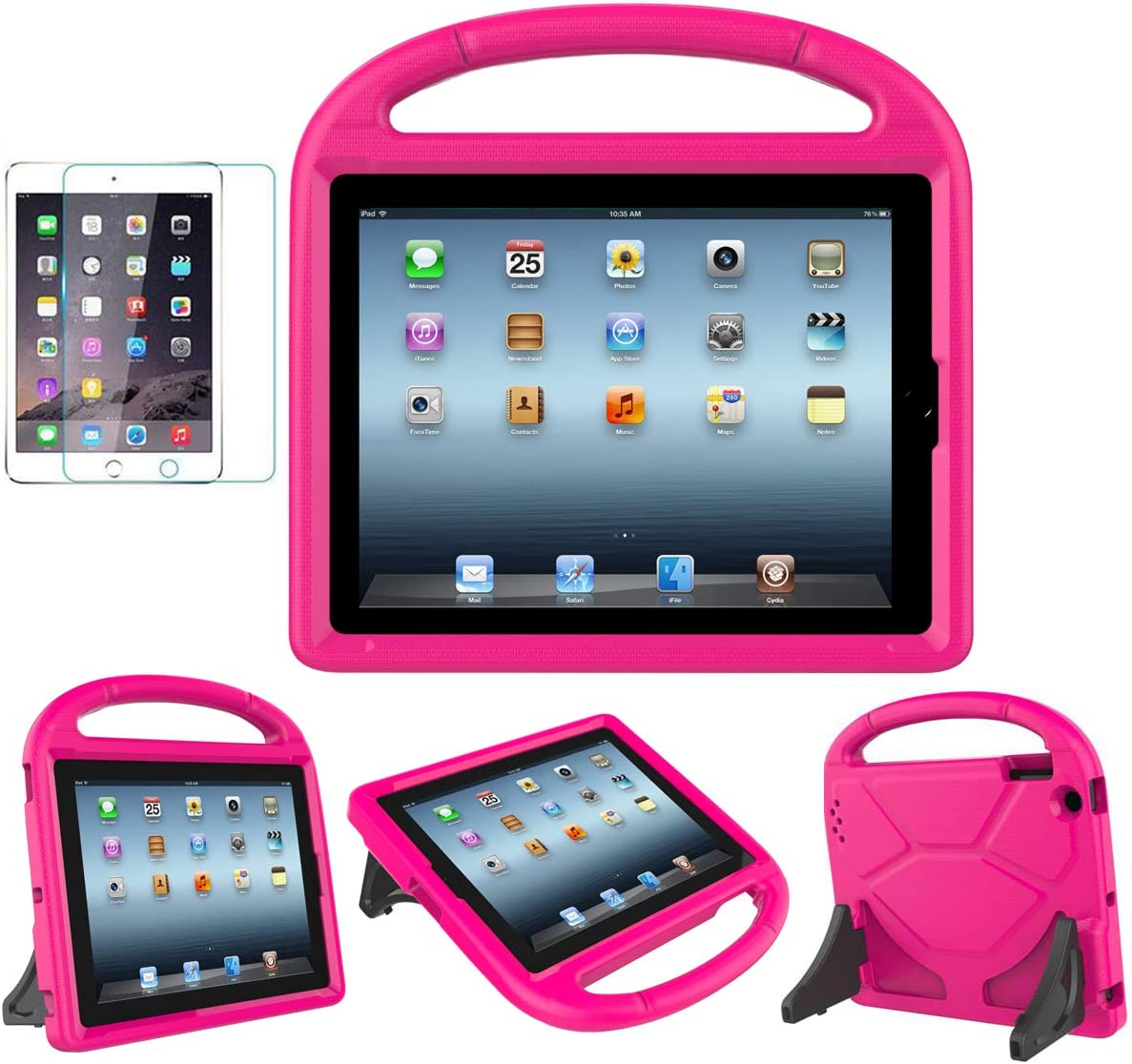 MOXOTEK Kids Case for iPad 2/3/4 (9.7 inch,2011/2012), Durable Lightweight Shockproof Protective Handle Stand Cover with Screen Protector for iPad 2nd/3rd/4th Generation(NOT for 5th/6h Gen), Pink