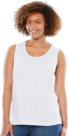 2X Woman Within Womens Plus Size Perfect Tank Top White