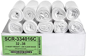 Aluf Plastics 33 Gallon Trash Bags - (Commercial 250 Pack) - Source Reduction Series Value High Density 16 Micron Gauge (equiv) - Intended for Home, Office, Bathroom, Paper, Styrofoam