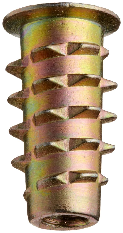 #10-32 Internal Threads Hex-Flanged Zinc 20mm Length Pack of 25 E-Z Lok Threaded Insert