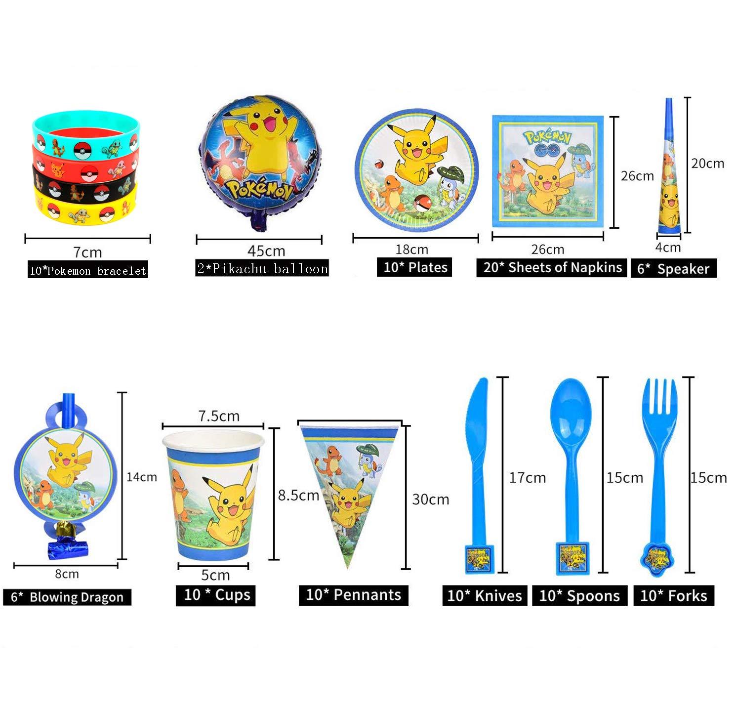 Decorazione per Feste di Compleanno per Bambini di Pokemon 118 Pezzi Pokemon Braccialetti Party Kit Pokemon Kids Birthday Party Decoration per 10 Ospiti per Festeggiamenti