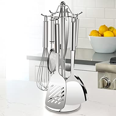 SINGAYE Utensil Stand Kitchen Tools Rack 304 Stainless Steel Holders 16.1 inch, 6 Hooks for Spoon,Soup Ladle,Pasta Server, Spatula etc.