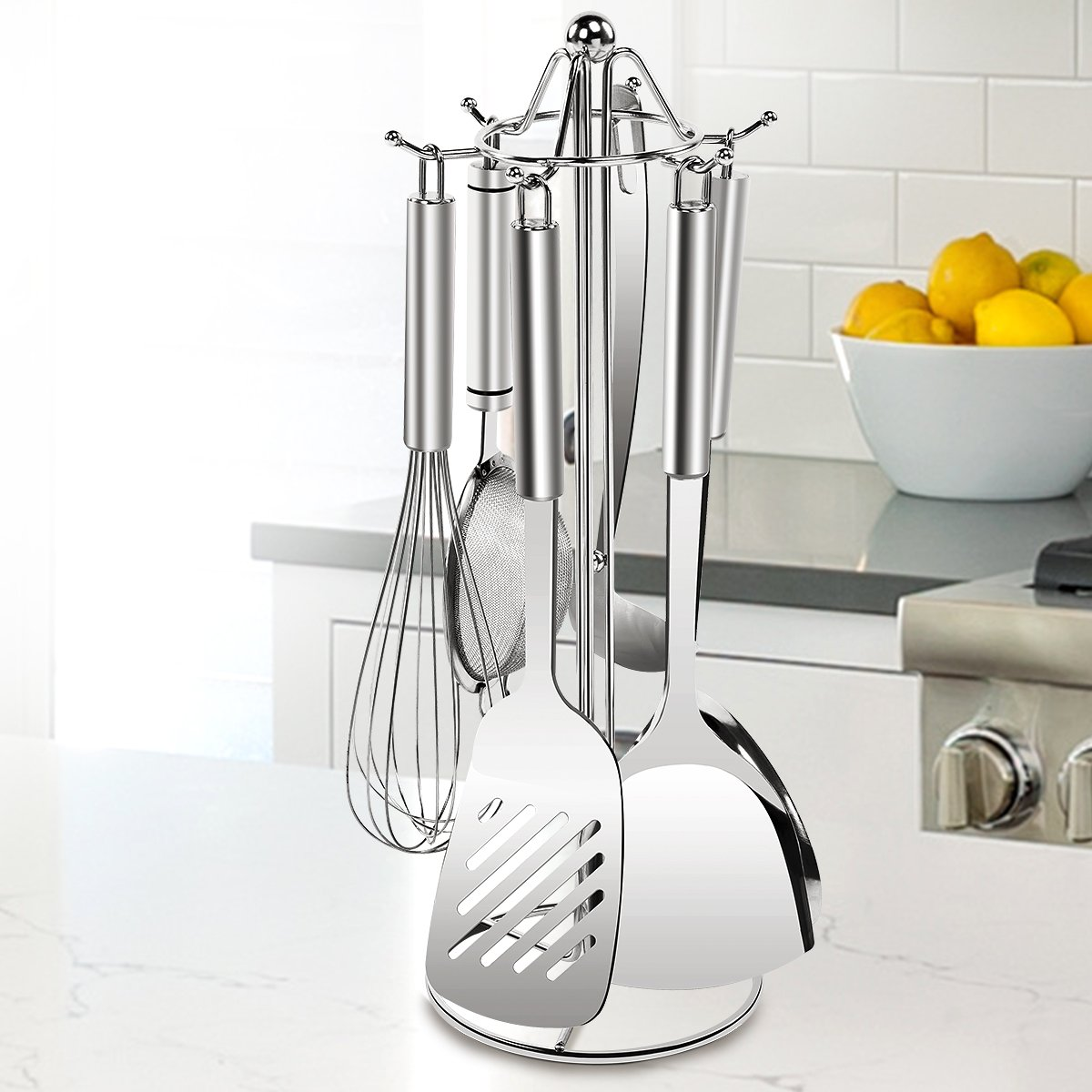 SINGAYE Utensil Stand Kitchen Tools Rack 304 Stainless Steel Holders 16.1 inch, 6 Hooks for Spoon,Soup Ladle,Pasta Server, Spatula etc. by SINGAYE