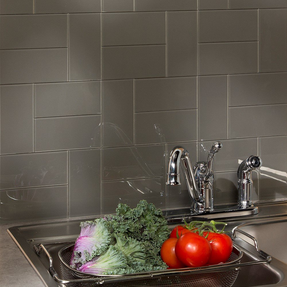 Aspect Peel and Stick Backsplash Leather Glass Tile for Kitchen and Bathrooms (15 sq ft Kit)