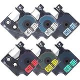 6 Schriftband Kompatibel für Dymo Standard D1-Etiketten 45010 45013 45016 45017 45018 45019 12mm x 7m Schwarz auf Transparent, Weiß, Rot, Blau, Gelb, Grün Schriftbandkassette für DYMO LabelManager LabelPoint LabelWriter LM160 LM210D LM260P LM280 LM360D LM420P