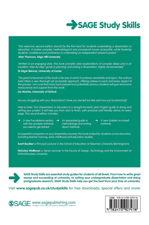 Your Dissertation in Education (SAGE Study Skills Series): Amazon.co.uk:  Scott Buckler, Nicholas Walliman: 9781473907478: Books