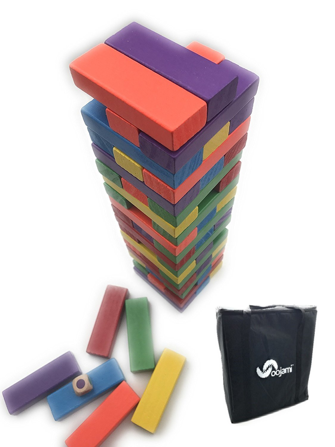 Giant Colorful Tumbling Timbers comes with Large Dice & Storage Bag Oojami