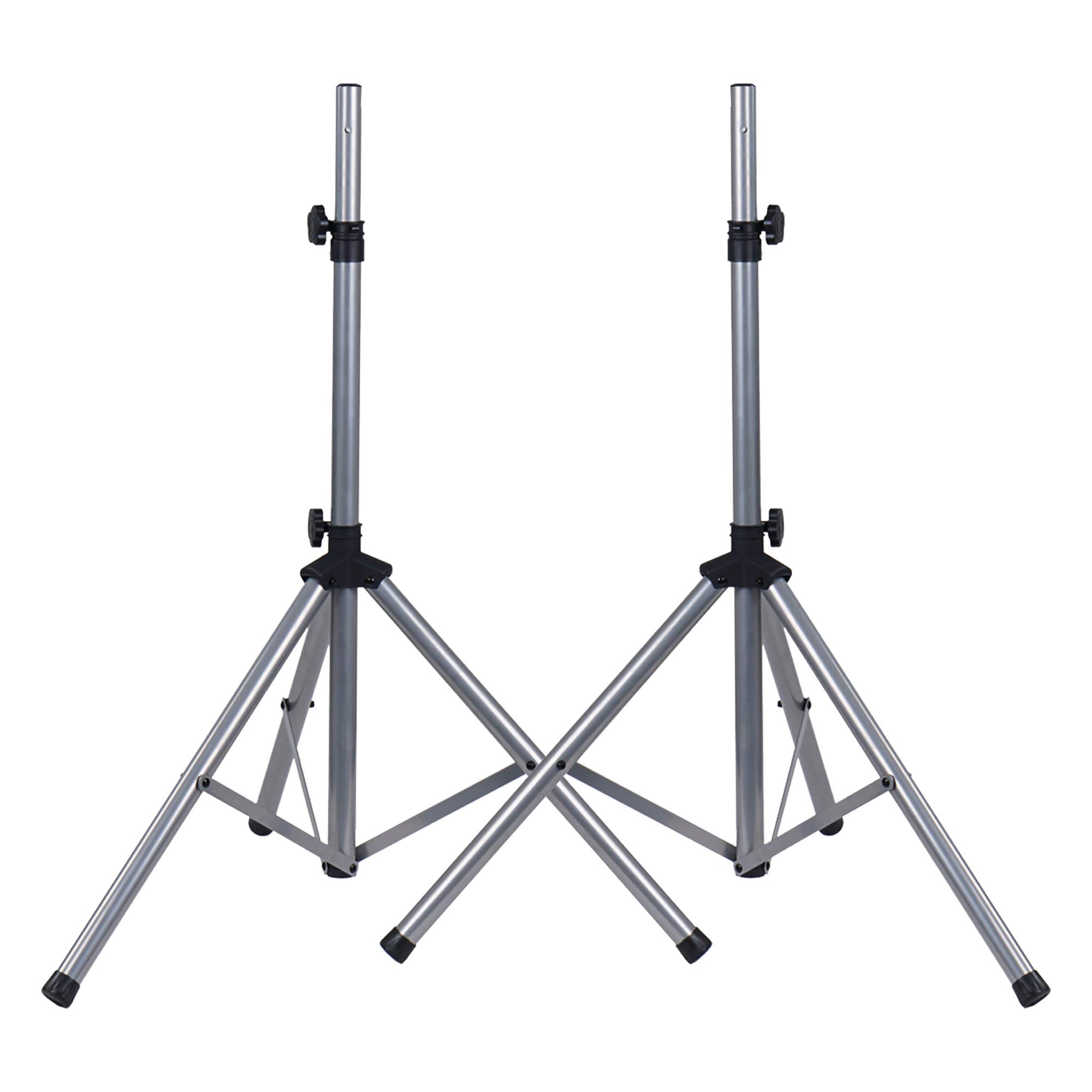 Sound Town 2-Pack Universal Tripod Speaker Stands with Adjustable Height, 35mm Compatible Insert, Locking Knob and Shaft Pin, Silver (STSD-71W-PAIR)