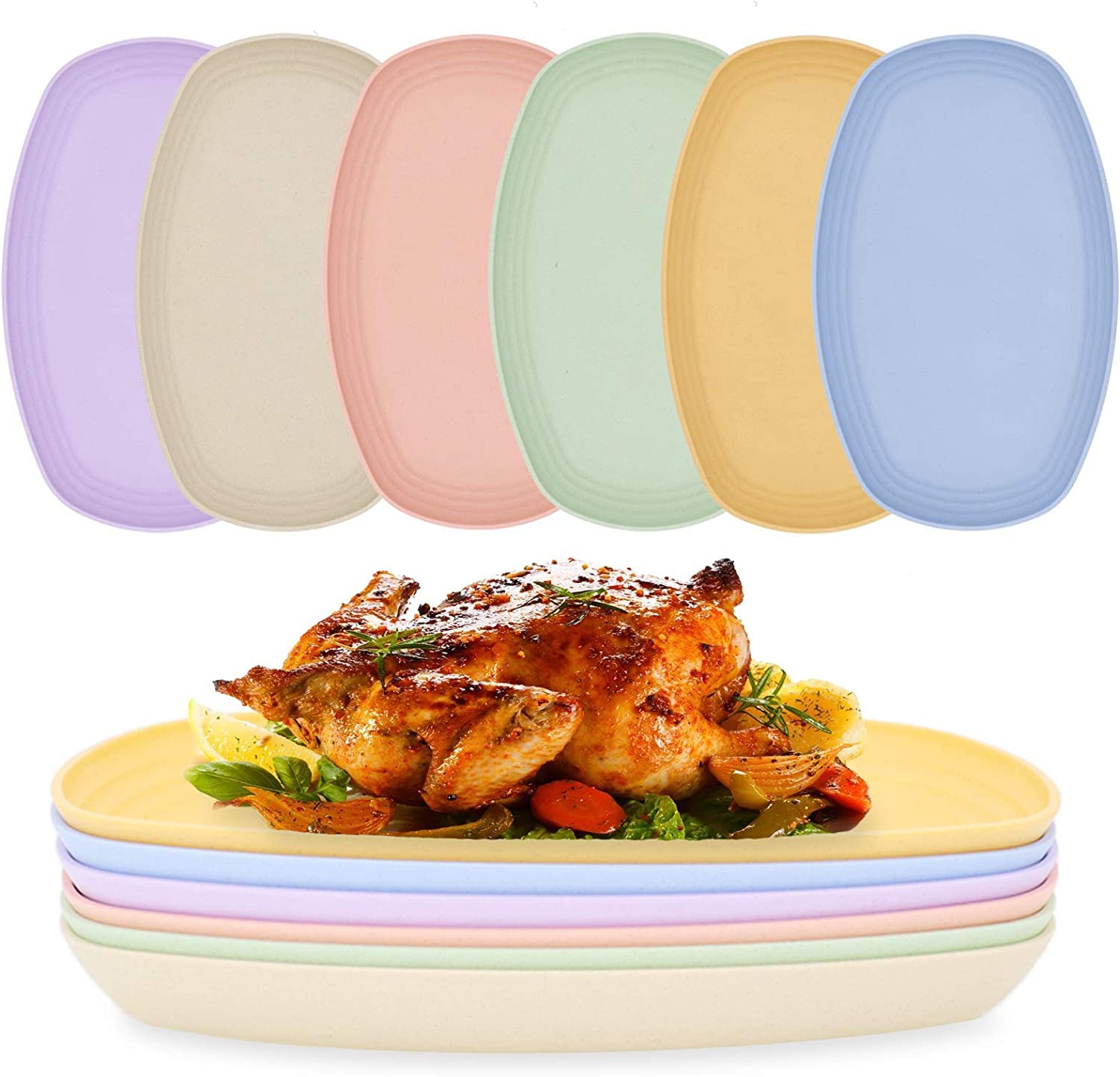 Set of 6 Unbreakable Wheat Straw Dinner Plates, 11.5