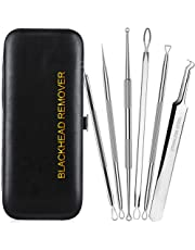 Blackhead Remover, Antonki 6 Pack Blackhead Extractor Professional Comedone Blackhead Remover Tools, 100% Easy for Pimple Acne Blemish Removal - With Leather Carrying Case