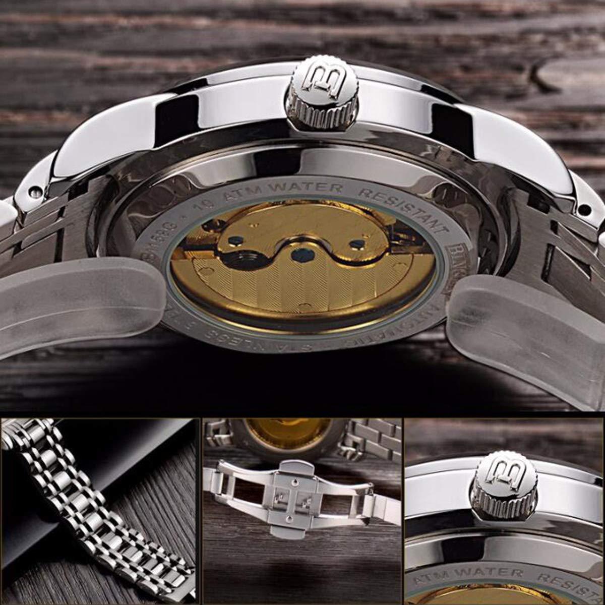 BINGER stål guld klocka män casual skelett vattentät lysande klockor militära klockor automatisk mekanisk klocka colorC