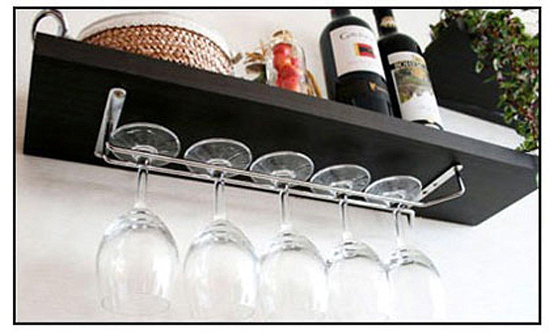 Estante para colgar copas de cristal Colgador de copas con tornillos plateado