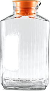 Anchor Hocking 2 Quart Glass Bistro Pitcher with Orange Stopper