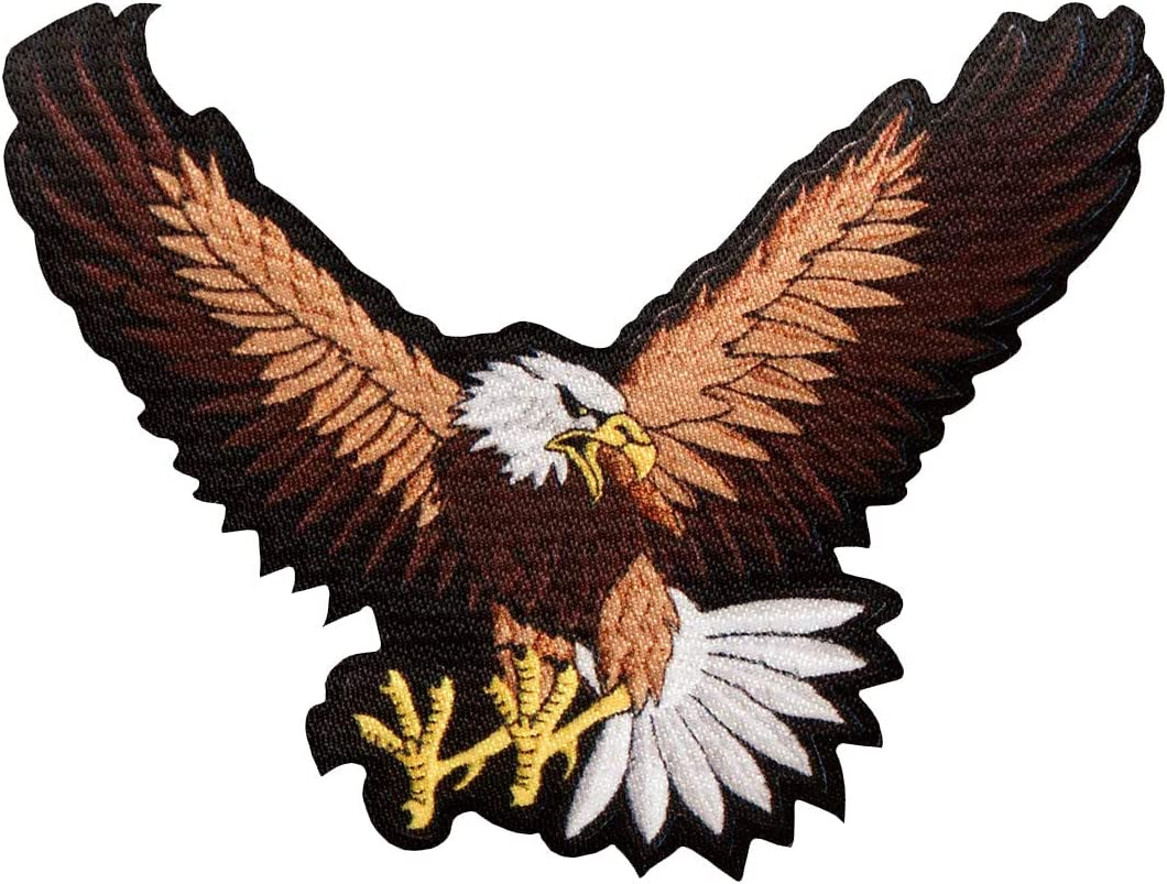 Adler Vogel Flügel Tier Aufnäher // Bügelbild braun 10,3x6,6cm